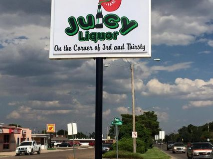 Sign for Juicy Liquor